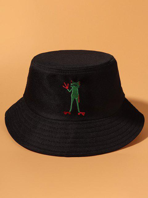 Standing Frog Embroidered Casual Bucket Hat - أسود  Mobile