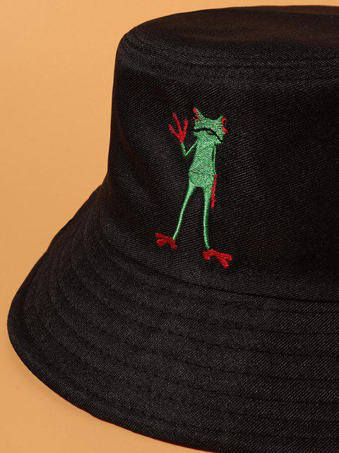 affordable Standing Frog Embroidered Casual Bucket Hat - BLACK  Mobile
