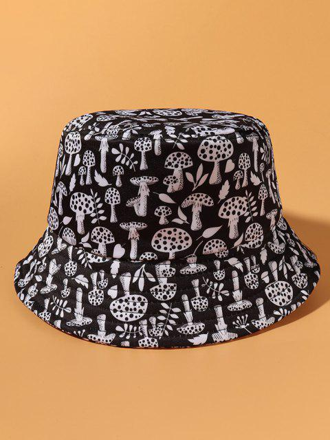 buy All-Over Mushroom Printed Casual Bucket Hat - BLACK  Mobile
