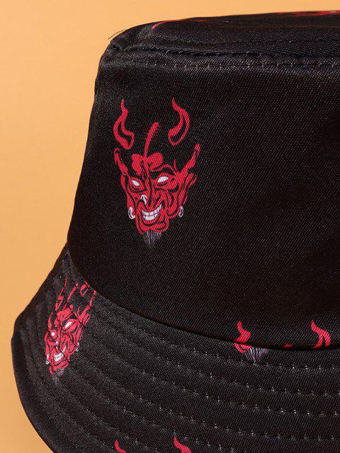 ゴーストプリントカジュアルストリートバケット帽子 - ブラック  Mobile