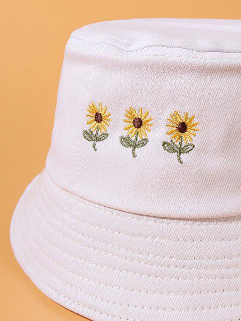 Sombrero de Cubo de Calle Casual de Bordado de Girasol - Blanco  Mobile