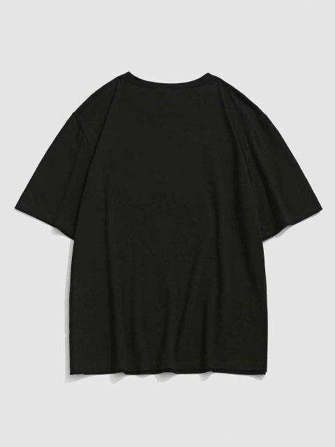 best Tokyo Sakura Dragon Graphic Oriental T-shirt - BLACK S Mobile
