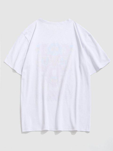lady Eye Pattern Graphic Short Sleeve T-shirt - WHITE XXL Mobile