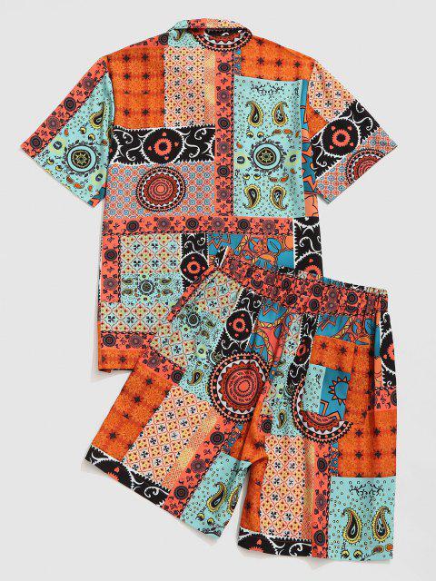 ペイズリー部族のパターンパッチワークシャツとショーツセット - コーヒー M Mobile