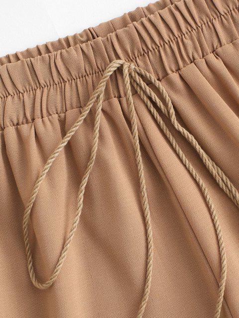 Picot Trim Troddel Krawatte Shorts - Licht Kaffee M Mobile