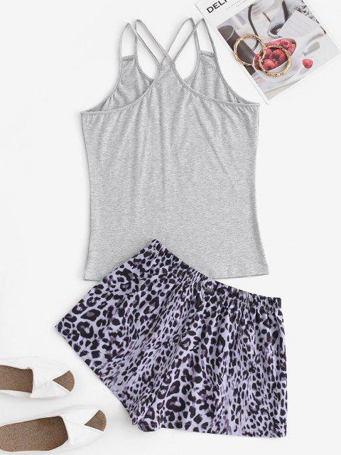 Conjunto de Pijama con Cordones y Estampado de Leopardo - Gris S Mobile