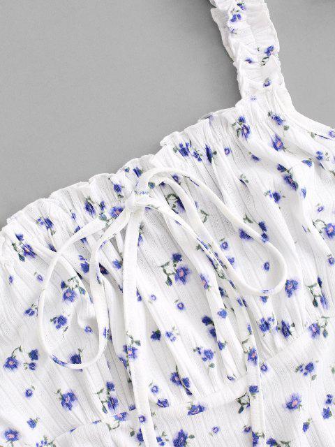 ZAFUL Gebundenes Winziges Blumen Rüschenkleid mit Rüschen - Multi L Mobile