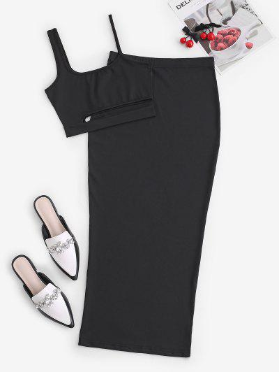 Cutout Crop Top And Bodycon Long Skirt Set - Black M