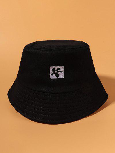 Sombrero De Cubo Casual Con Bordado De Flor - Negro