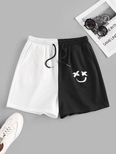 ZAFUL Colorblock Smile Print Drawstring Sweat Shorts - Multi M
