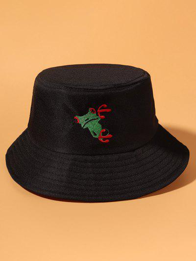 Frog Embroidered Casual Outdoor Bucket Hat - Black