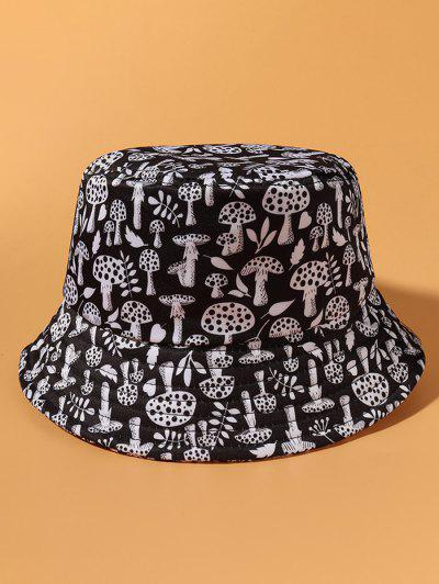 All-Over Mushroom Printed Casual Bucket Hat - Black