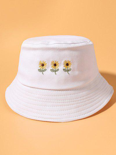 Sunflower Embroidered Casual Street Bucket Hat - White