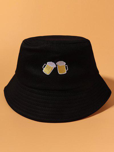 Cheer Beer Embroidered Casual Bucket Hat - Black