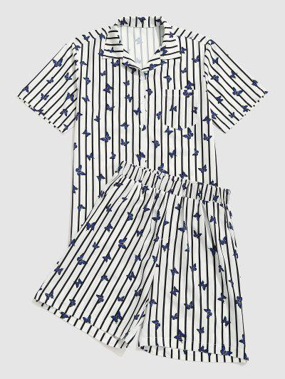 스트라이프 나비 셔츠와 반바지 두 조각 세트 - 하얀 Xxl