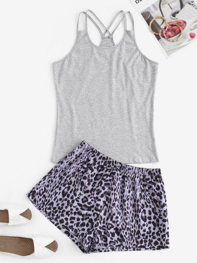 Dual Strap Leopard Contrast Pajama Shorts Set - Gray Xl