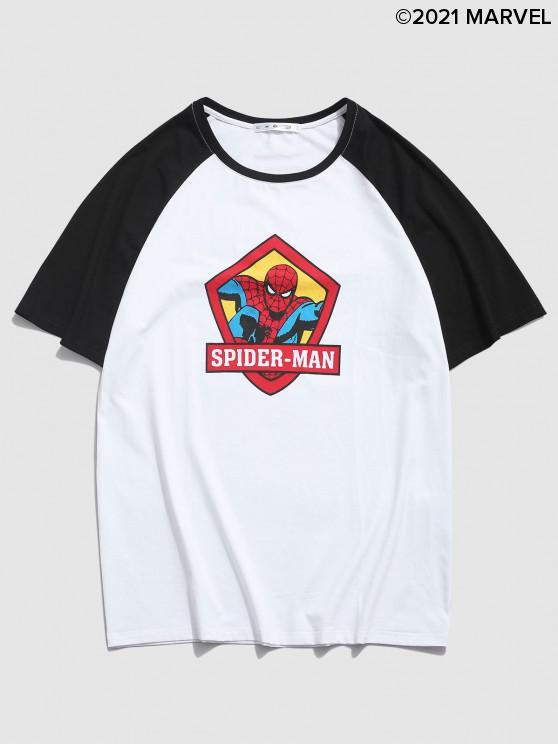women's Marvel Spider-Man Letter Print Short Sleeves T-shirt - WHITE S