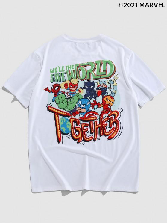 Marvel Spider-Man Helden-Muster-Grafik-T-Shirt - Weiß M