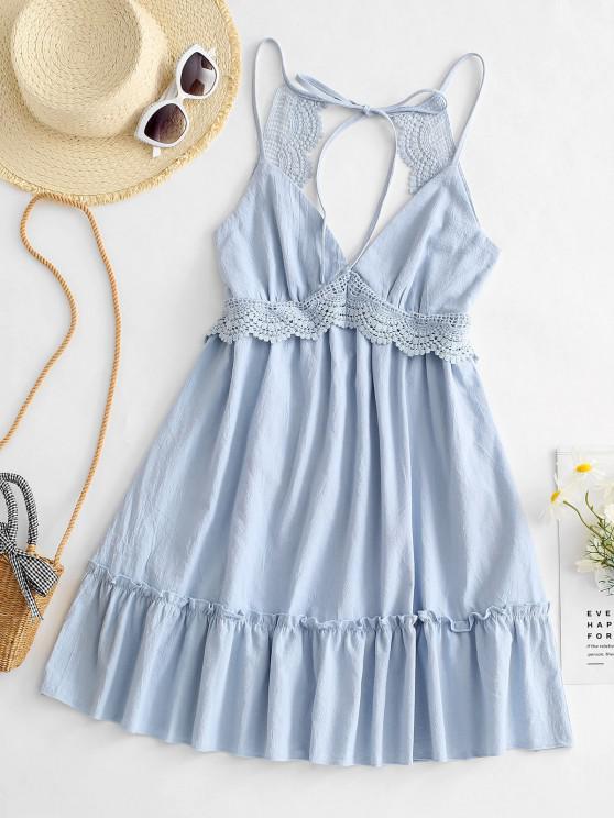 Vestido curto de mangas compridas com painel de crochê - Azul claro M