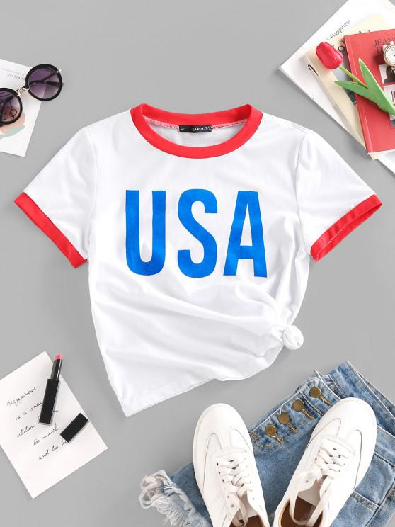 outfits USA Graphic Ringer T Shirt - WHITE M