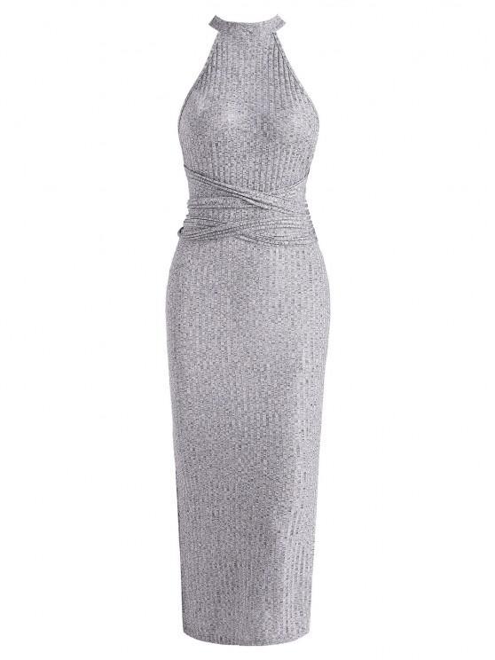 women Tie Waist Ribbed Criss Cross Slit Slinky Dress - GRAY S