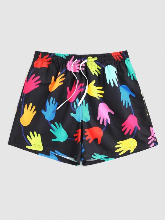 Pantaloncini a Contrasto Stampati Palma - Multi Colori XL