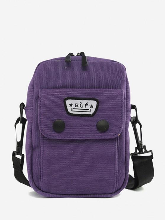 Mini Canvas Pocket Casual Crossbody Bag - بيربل جمشت
