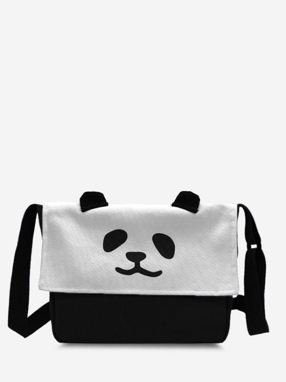 Panda Flap Square Casual Crossbody Bag - أسود