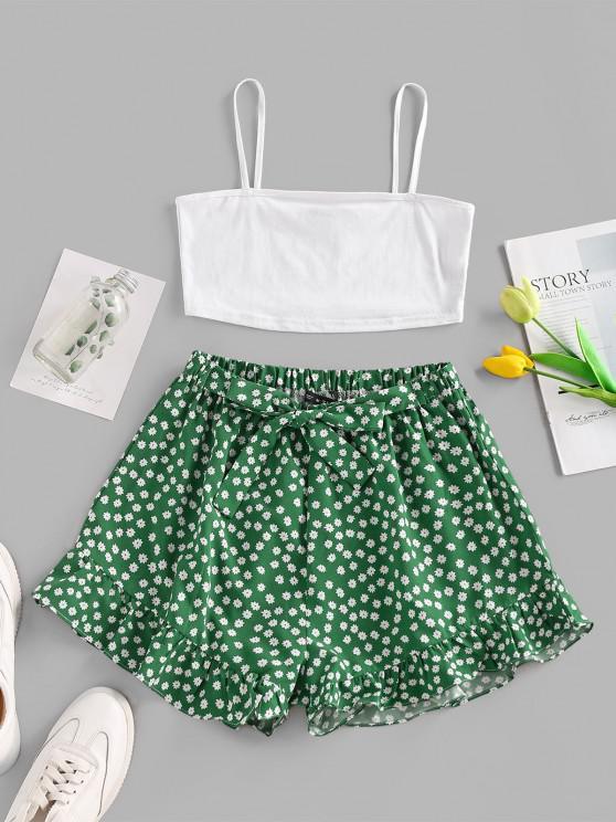 shop Flower Print Belted Ruffle Shorts Set - WHITE S