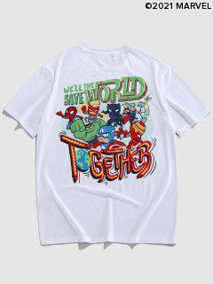 Marvel Spider-Man Heroes Pattern Graphic T-shirt - White Xl