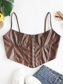 Spaghetti Strap Faux Leather Hook-and-eye Corset Top - Coffee S
