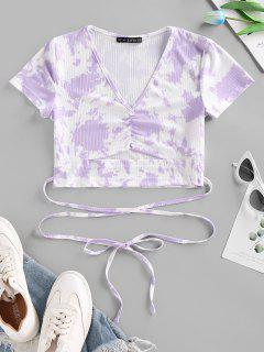 Tie Dye Ribbed Ruched Cutout Criss Cross T Shirt - Purple S