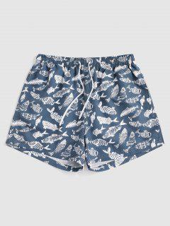 Fish Allover Print Vacation Shorts - Marble Blue L