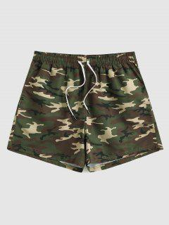 Camouflage Print Drawstring Vacation Shorts - Woodland Camouflage Xl