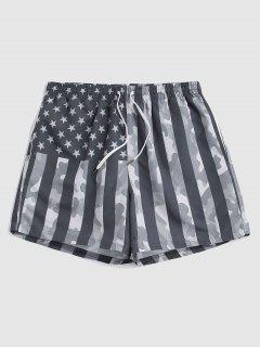 Pantaloncini Stampa Mimetica Con Stampa Bandiera Americana - Grigio 2xl
