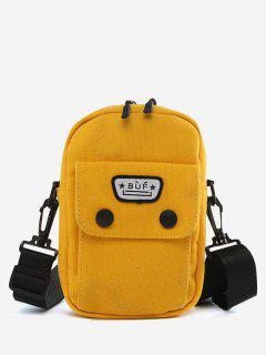 Mini Canvas Pocket Casual Crossbody Bag - Sun Yellow