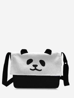 Panda Flap Square Casual Crossbody Bag - Black