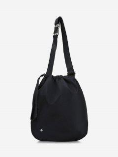 Side Release Buckle Drawstring Casual Cinch Bag - Black