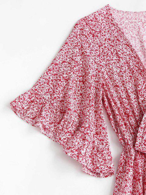 sale Ditsy Print Tie Front Ruffled Romper - MULTI M Mobile