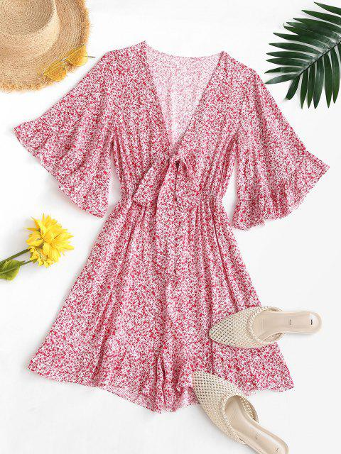 womens Ditsy Print Tie Front Ruffled Romper - MULTI S Mobile