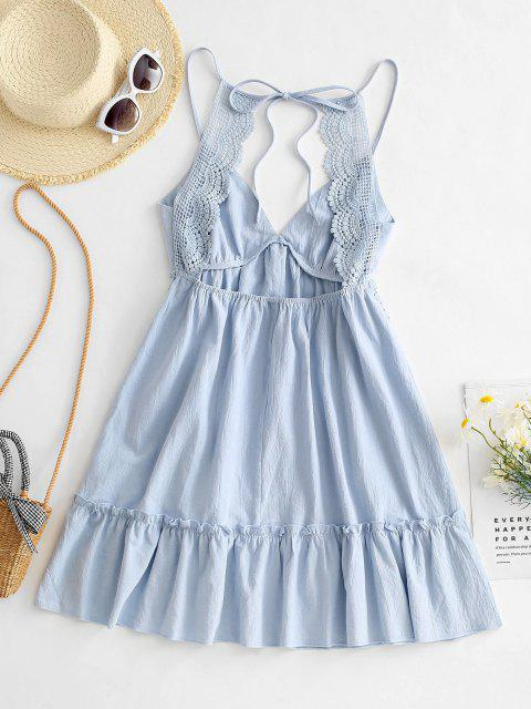 buy Flounce Hem Crochet Insert Mini Dress - LIGHT BLUE S Mobile