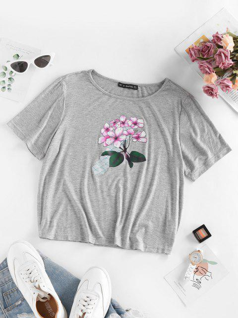unique Sakura Flower Short Sleeve T Shirt - GRAY XL Mobile