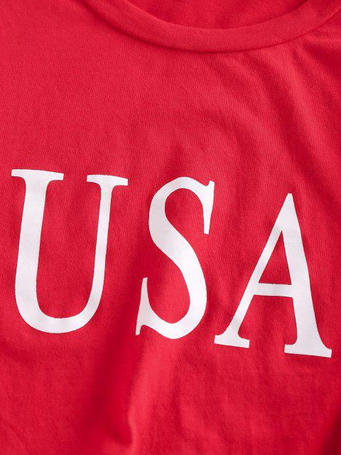 best Striped USA Graphic Crop T Shirt - RED L Mobile