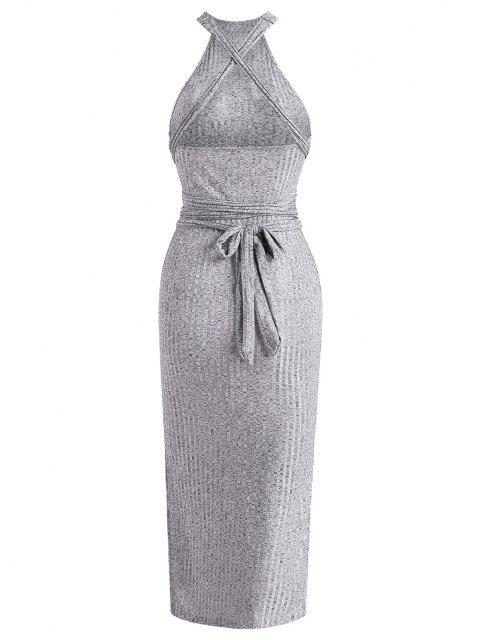 trendy Tie Waist Ribbed Criss Cross Slit Slinky Dress - GRAY M Mobile