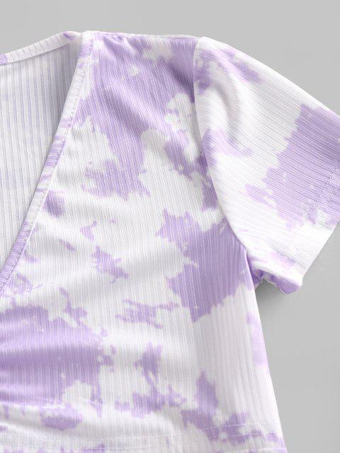 Camisola de Mangas Curtas com Nervuras de Gravata - Roxa S Mobile