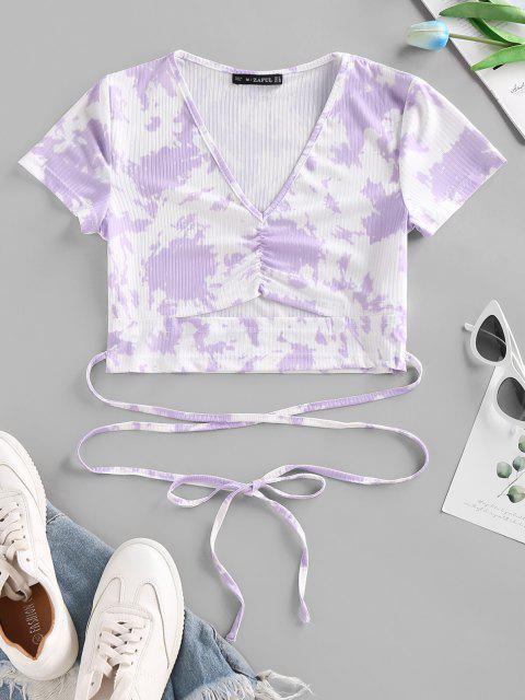 sale Tie Dye Ribbed Ruched Cutout Criss Cross T Shirt - PURPLE XL Mobile