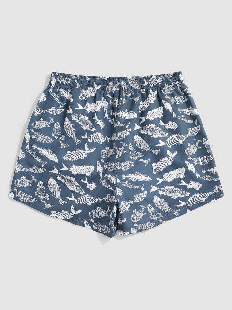 best Fish Allover Print Vacation Shorts - MARBLE BLUE L Mobile