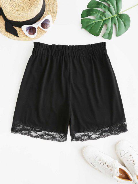 fashion Lace Hem Pull On High Waisted Shorts - BLACK M Mobile