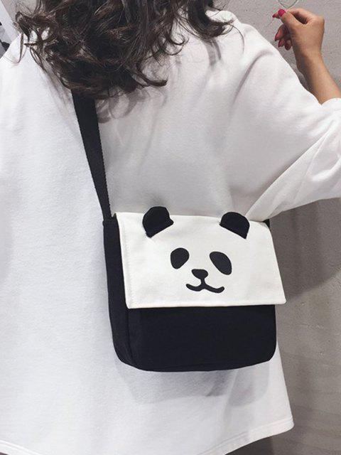 Panda Klappe Quadrat Lässige Umhängetasche - Schwarz  Mobile