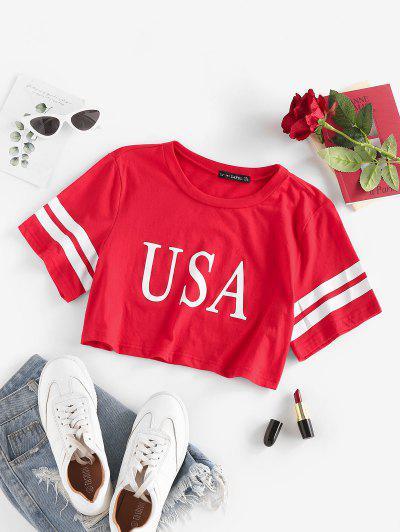 Striped USA Graphic Crop T Shirt - Red M